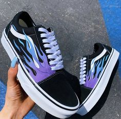 shoes sneakers vans old skool Blue Flame Black Canvas Old Skool - Vans Customisées, Tenis Vans, Vans Sneakers, Vans Men, Black Sneakers, Converse, Adidas Men, Girls Sneakers, Custom Vans Shoes