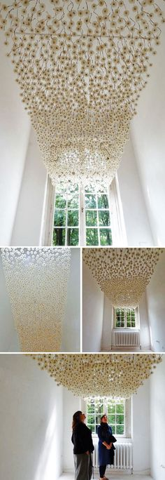 """how pretty is this dandelion installation by German artist Regine Ramseier?  wouldn't it make an amazing statement at a wedding?  sigh…"" via unruly things"