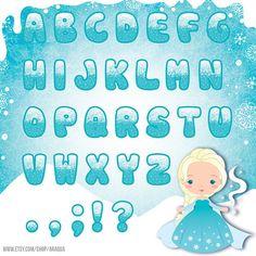 Congelado el alfabeto conjunto de imágenes prediseñadas - carácter y fondo - descarga inmediata - archivos PNG.