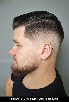 Check out this beautiful comb over fade with beard if you want a modern style! See all of the details for this style by tapping Visit and you'll also see the remaining 22 all-time best ideas for beard fade haircut for a cool new look. // Photo Credit: @17cuts on Instagram Latest Hairstyles, Hairstyles Haircuts, Beard Fade, Rugged Look, Beard Styles For Men, Photo Credit, Comb Over Fade Haircut, New Look, All About Time