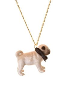 Pug Dog Porcelain Necklace, by and Mary,