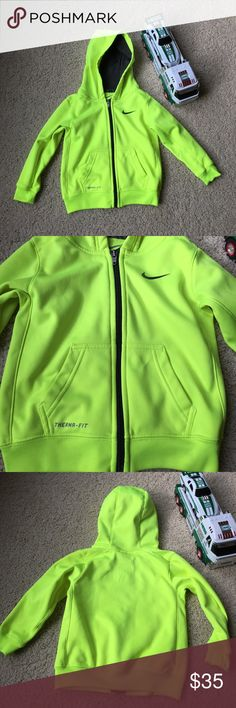 Boys Nike Toddler 3T hoodie EUC Nike toddler boy zip up hoodie. No stains or marks. Purchased from Nordstrom. Bright neon yellow so you can always find your little guy running around. We loved this jacket and if he hadn't grown out of it, we would be wearing it again this year. Nike Shirts & Tops Sweatshirts & Hoodies