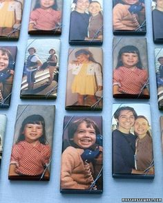 great idea for party favors. Chocolate bars adorned with pictures bride and groom or birthday boy or girl are sweet in more ways than one. Choose a few favorite photos, then print. Wrap each candy bar with a photo, and secure in back with double-sided tape. Wedding shower baby sprinkle gift favor