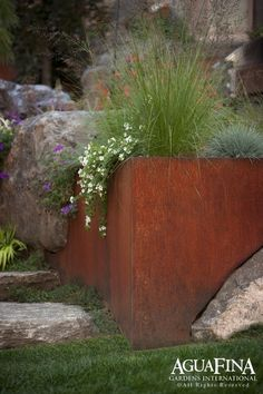 Stone and steel planters. [gorgeous integration of corten steel with stone in an AguaFina Gardens International landscape design] Modern Landscape Design, Modern Landscaping, Garden Landscaping, Landscape Architecture, Modern Design, Steel Retaining Wall, Boulder Retaining Wall, Backyard Retaining Walls, Corten Steel Planters