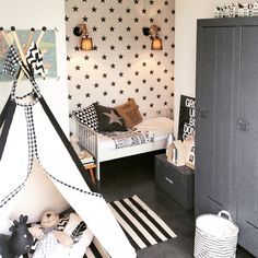 Love the different patterns and how they tie together. Teepee is my fave. Baby Bedroom, Baby Boy Rooms, Girls Bedroom, Ideas Dormitorios, Kids Room Design, Kid Spaces, Kids Decor, Girl Room, Bedhead
