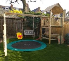 Case Studies - Wooden Climbing Frame, Tree House & Children's Garden Play Design and Build Company Climbing Frame Diy, Garden Climbing Frames, Climbing Wall, Backyard Playground, Backyard For Kids, Kids Yard, Backyard Ideas, Kids House Garden, In Ground Trampoline