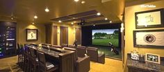 VGolf offers the best golf simulators and multi sport simulators. We manufacture and sell virtual golf simulators, offer turnkey virtual golf simulator solutions Best Home Theater, Home Theater Rooms, Home Theater Design, Home Theater Basement, Home Golf Simulator, Indoor Golf Simulator, Golf Room, Golf Simulators, Home Cinemas