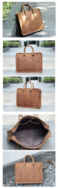 """ROCKCOW Antique Style Genuine Leather Mens Briefcase Messenger Bag Satchel Bag 2845 Model Number: 2845 Dimensions: 13.3""""L x 3.5""""W x 10.2""""H / 34cm(L) x 9cm(W) x 26cm(H) Weight: 3.3lb / 1.5kg Hardware:"""