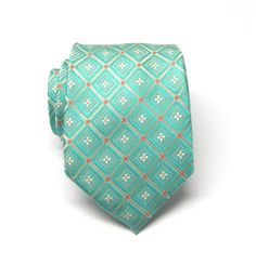 Mens Ties Necktie Mint Green Flower Checkers Mens by TieObsessed Moroccan Fabric, Mint Green Flowers, Hand Roll, Hand Sewing, Ties, Buy And Sell, Handmade, Stuff To Buy, Etsy