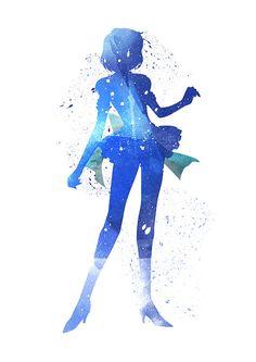Sailor Mercury Sailor Moon fan Art Watercolor by WatercolorDsgn