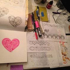 Friday night and having fun!  Finishing final designs for next batch of leather cuffs and playing with Valentines for my Society6 shop.  Wishing everybody a relaxing 😎 weekend! #creativebiz #createeveryday #creativeentrepreneur #womenartists #womenpainters #illustration #2017goals #fridaynightart #hearts #society6
