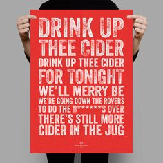 True Colours Bristol City FC Drink up Thee Cider song chant print poster. Perfect gift for a true Pirates fan.