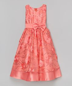 Look at this Coral Glitter Floral Dress - Toddler
