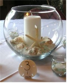 beach wedding candle