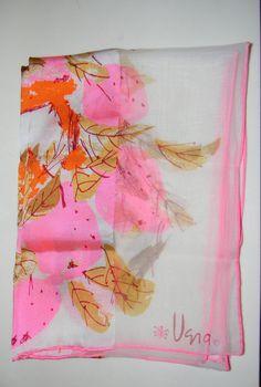 Vintage  vera scarf lady bug acetate white pink by FeliceSereno
