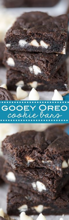 Gooey Oreo Cookie Bars - easy homemade Oreo cookies in bar form filled with gooey white chocolate and chopped Oreos! - follow my profile and check more on my website