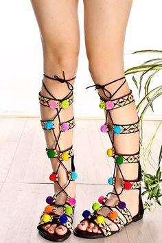 d3657317442 Colorful Gladiator Sandals Exotic Lace up Flats with Fluffy Balls. Strappy  FlatsFlat Gladiator SandalsLace Up FlatsHot HeelsPump ShoesAnkle ...