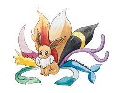Pokemon Fan Art: Leafeon, Jolteon, Slyveon, Flareon, Umbreon, Espeon, Vaporeon, Glaceon