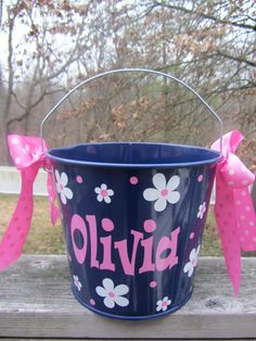 Personalized Easter Bucket basket pail  10 quart by DottedDesigns, $28.00