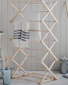 The classic Folding Wooden Clothes Horse has a concertina design that offers ample space and with the option of a two-height setting