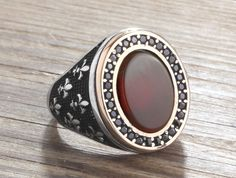 925 Silver Man Ring Agate and Onyx Men's Handmade Gemstone Jewelry #IstanbulJewellery #Statement