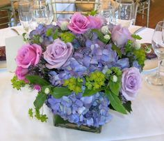 blue hydrangeas and pink & purple roses
