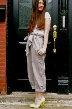 plain tee, paperbag pants and bright heels