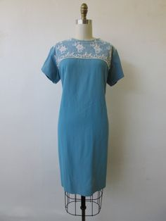 Clearance - 1960's blue day dress with lace // vintage 60's blue dress // large - extra large // pauline by VivianVintage8 on Etsy