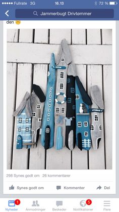 casitas con madera pulida por el mar - Çapulcu Sibel Sen - Welcome to the World of Decor! Painted Driftwood, Driftwood Wall Art, Driftwood Projects, Beach Crafts, Fun Crafts, Diy And Crafts, Sea Art, Stone Crafts, Nature Crafts