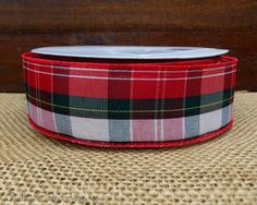 christmas wired ribbon 1 12 wide red green and white plaid three yards offray raritan tartan christmas plaid wire edged ribbon