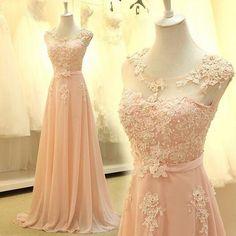 6be052381ade 2016 Custom Blush Pink Chiffon Prom Dress
