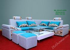 Màu xanh hiện đại, trắng sáng của bộ ghế sofa nỉ đẹp thể hiện vẻ thời thượng của chủ nhân