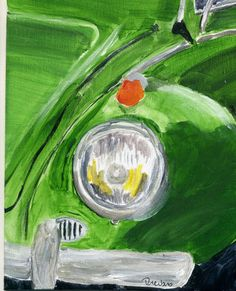 Volkswagen Super Beetle Classic VW Bug Headlight Fender Acrylic Painting - available on ebay