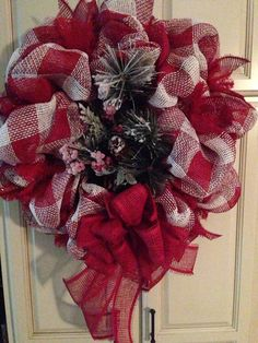 Red and white Christmas wreath - $75 plus shipping