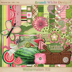 Watermelon Digiscrap Page Kit - pink, green, dots, picnic - jpg and png files