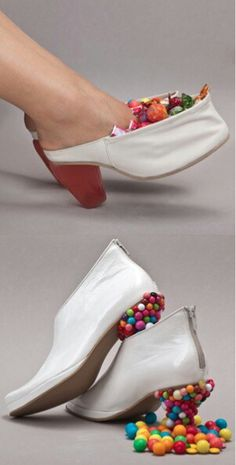 are these  candy shoes, candy filled shoes!! i think that they are wild but they would go with a halloween costume or a candy land themed party!! they are actually kinda cute but i dont think id wear them! would you?