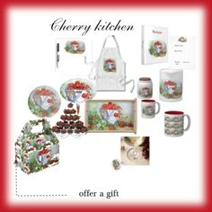 """""""Cherry kitchen set"""" by artlovers-436 on Polyvore"""