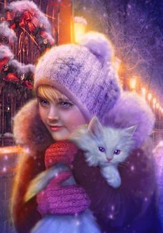 Purple art:Girl in a purple hat & her white Kitty are Home for Christmas.