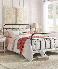 HomeBelle Dark Bronze Casted Knot Metal Queen Bed Frame | zulily