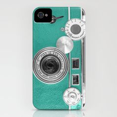 Teal retro vintage phone iPhone Case by Wood-n-Images | Society6