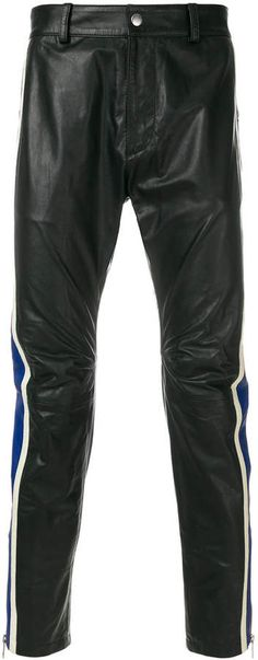 Diesel striped leather trousers. Pioneers of denim and change, Diesel has evolved into a premium casual wear brand offering a wide ranging edit with a signature streetwear aesthetic still at its core. 'Only The Brave' prints appearing on slogan tees, representing founder, Renzo Rosso's vision. These striped leather trousers, expertly crafted from calf leather feature a slim-fit, a waistband with belt loops and press stud opening.