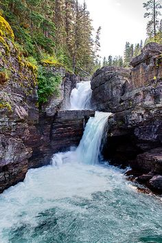 St Mary Falls, Glacier National Park, Montana.  ♥♥