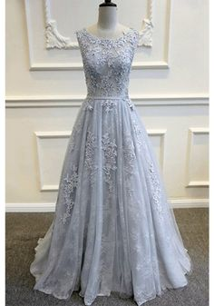 A-Line Appliques Sweep Train Long Prom Dresses Evening Dresses (ED1313)