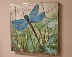 Original Dragonfly Painting, Hand Painted Textured Blue Dragonfly Art, 22x22 with Deep Edge Wood Canvas Painting