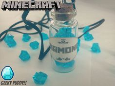 Minecraft Diamonds in a Vial Necklace by GeekyPuddy on Etsy, $7.20