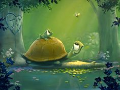 Kai Fine Art is an art website, shows painting and illustration works all over the world. Animal Drawings, Cute Drawings, Turtle Love, Illustrations, Cute Creatures, Cute Illustration, Cute Wallpapers, Cute Art, Cute Pictures