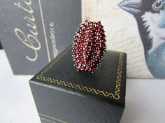 Antique Garnet Ring, Art Deco Bohemian Garnet Three Tiered Silver Ring