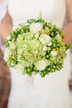Photography: Angela Newton Roy Photography - www.angelanewtonroy.com Love the green bouquet  Read More: http://www.stylemepretty.com/2014/06/04/traditional-meets-rustic-country-club-wedding/