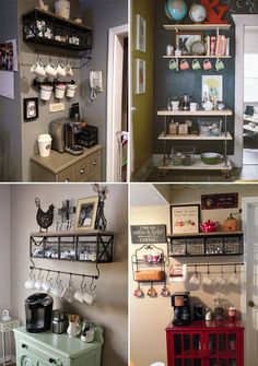 coffee corner Coffee Corner, I love it! Coffee Area, Coffee Nook, Coffee Bar Home, Coffee Corner, Coffee Bar Station, Home Coffee Stations, Tea Station, New Kitchen, Kitchen Decor