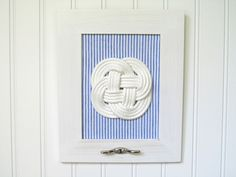 Nautical - Blue Seersucker - Sailors Knot - Beach Décor - White Frame. $60.00, via Etsy.